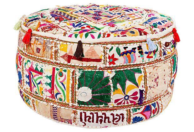 Kantha Pouf Green Multi On Onekingslane Com I Want This