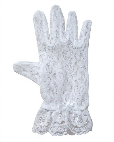 Lace Gloves for Girls in Wrist Length Sizes and Colors Glove Size and Color Asst White Age 4-7