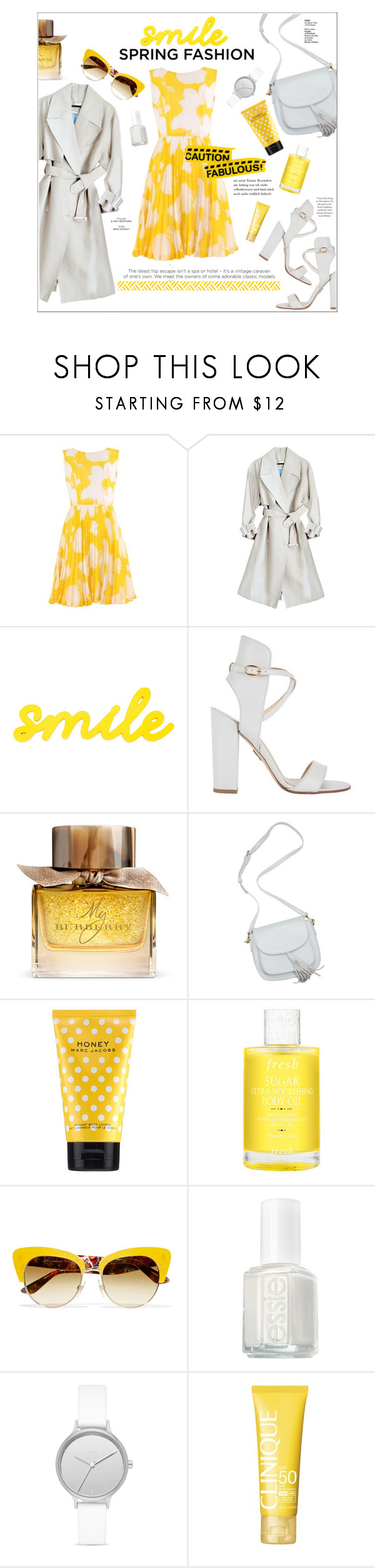 """""""spring fashion: dresses"""" by fernweeh ❤ liked on Polyvore featuring Paul Andrew, Burberry, Marc Jacobs, Fresh, Dolce&Gabbana, Essie, Skagen and Clinique"""