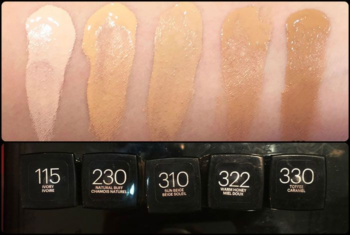 Maybelline Fit Me Foundation Matte Poreless Swatches Shades