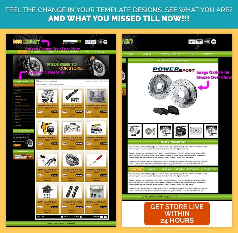39.99 Advance eBay Store Template Designer Automobile Theme in ...