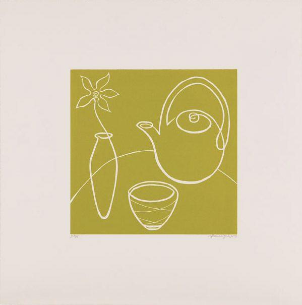 Paula Cox Green Tea, 2003 http://www.circulodelarte.com/es/obra/green-tea/es   Linograbado Formato de imagen: 30,5 x 31 cm Papel: Somerset Blanco 56,5 x 56,5 cm Edición de 75 ejemplares numerados y firmados