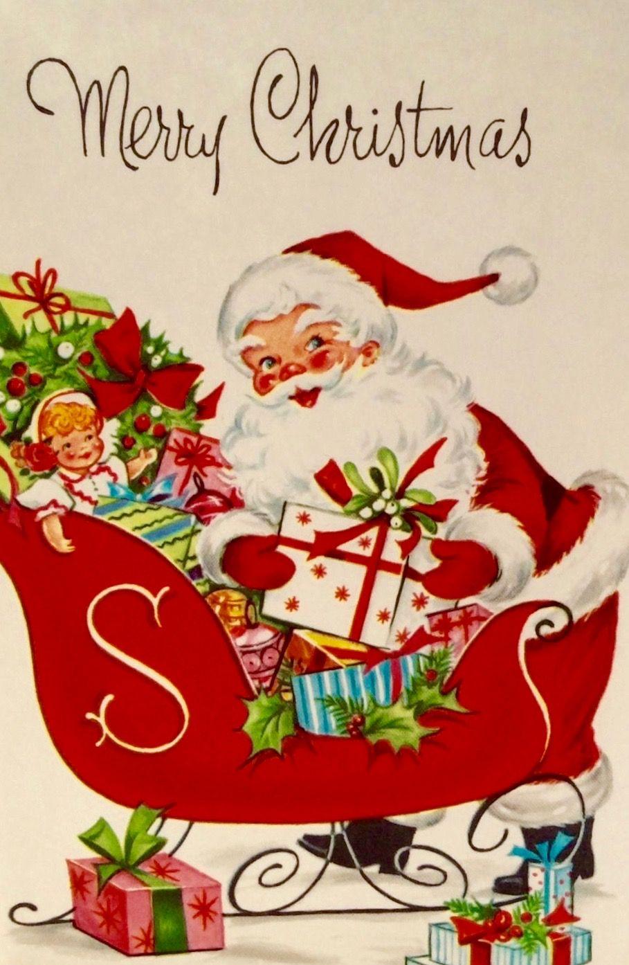 vintage santa retro santa merry christmas retro christmas card mad men santa vintage