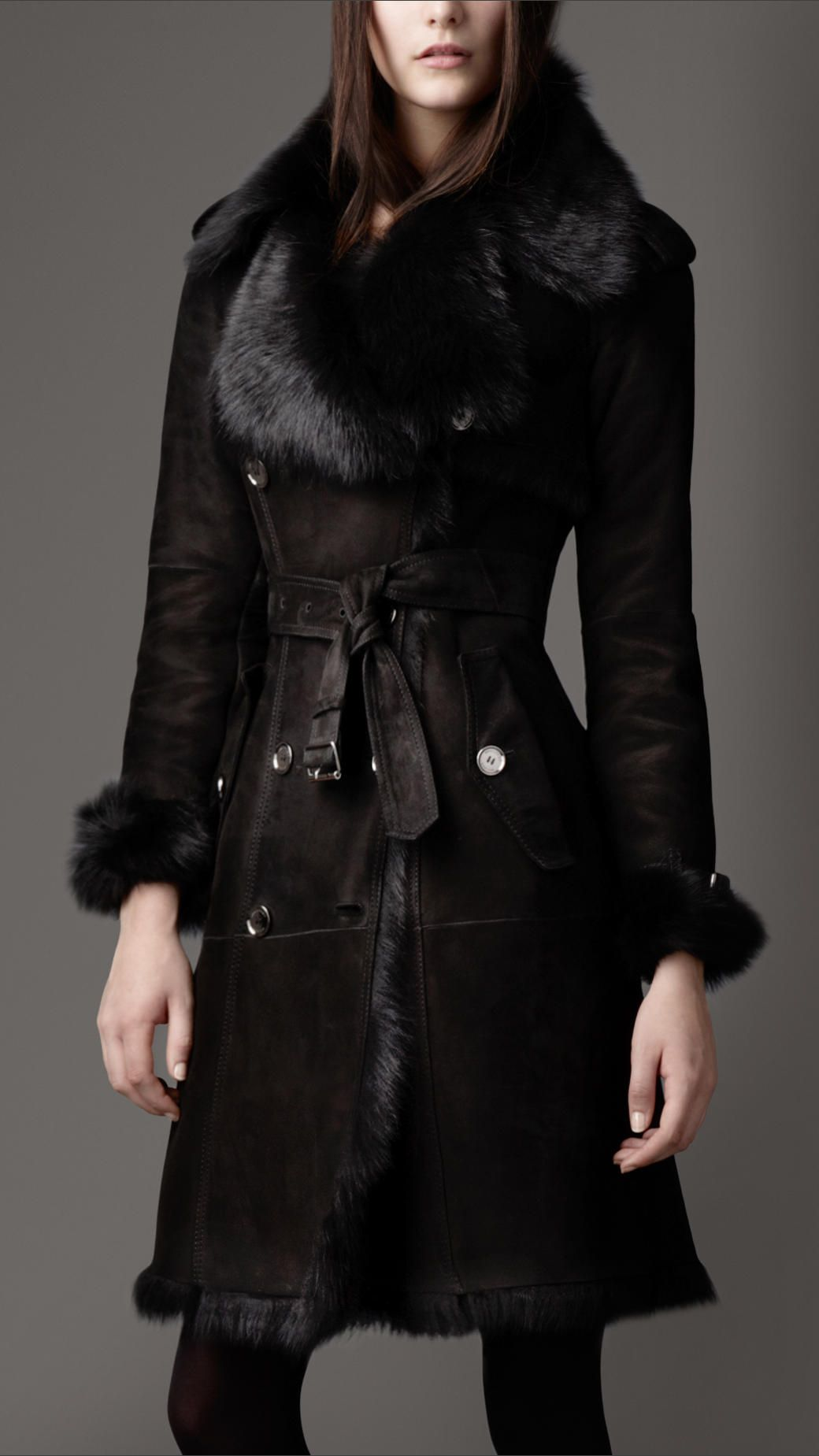 Women's Black Shearling Trench Coat | Trench and Coats