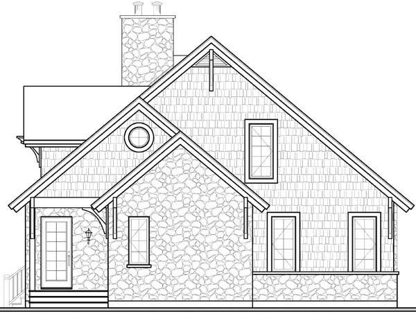 Rear Elevation of Country Craftsman European House Plan 65519