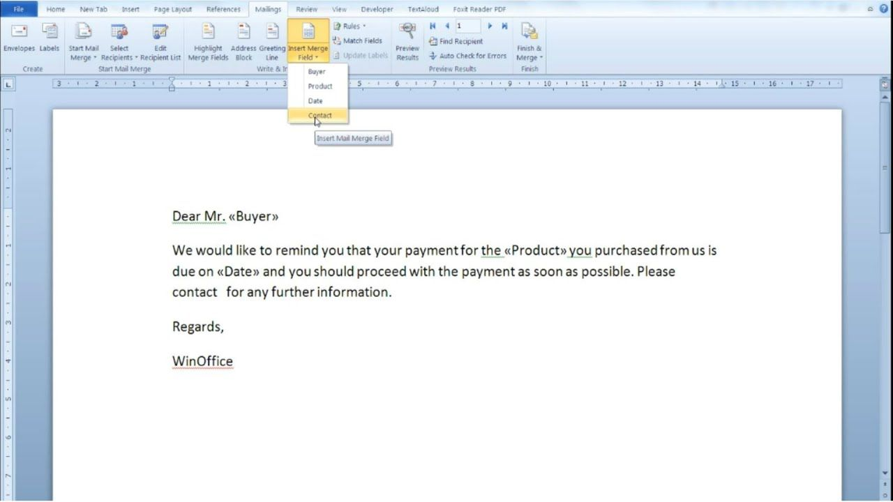 Use Mail Merge in Word 2010 to create documents ...