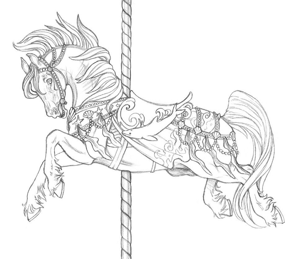 Carousel De Neptune By Artistmeli On Deviantart Horse Coloring Pages Animal Coloring Pages Carousel Horse Tattoos
