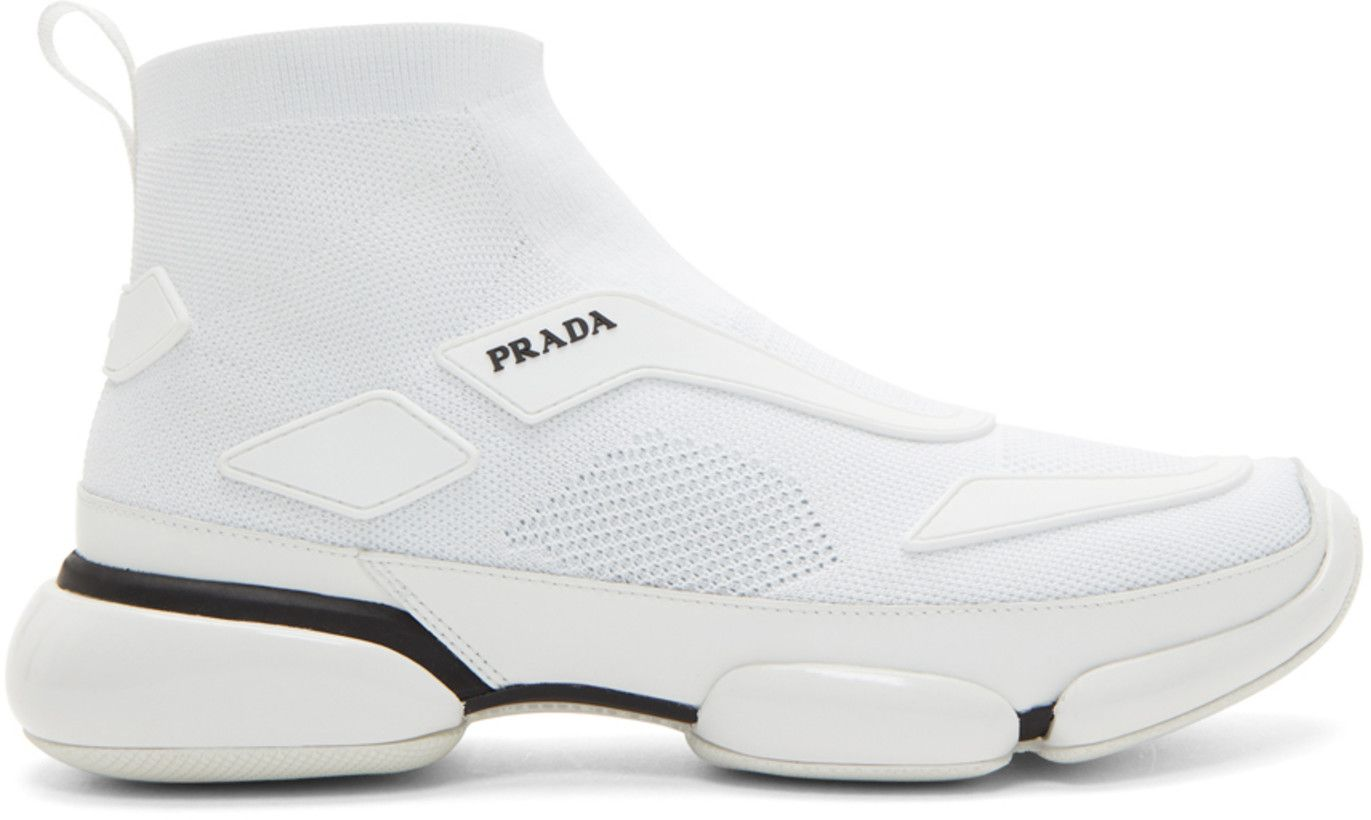 e2690c7ba2 Prada - White Sock High-Top Sneakers | Future Wear