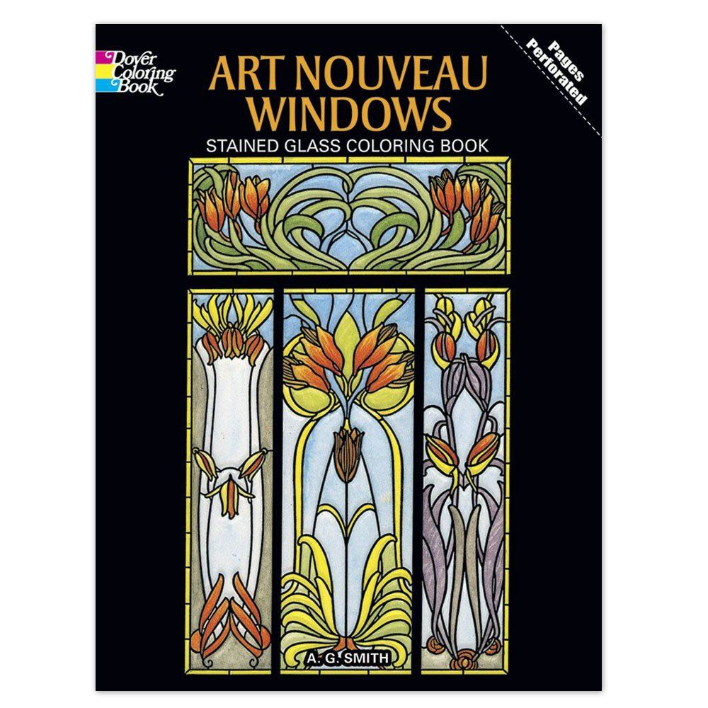 Sixteen Boldly Outlined Stained Glass Window Designs Derived From Motifs Originally Created By Master Art Designs Coloring Books Coloring Books Window Stained