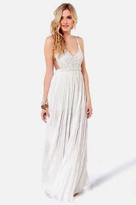 Lulus snowy meadow white backless maxi crochet top dress beach wedding dress