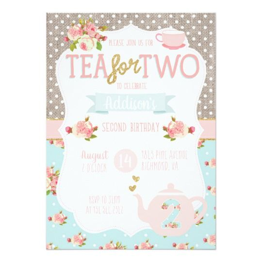 Tea for two second birthday invitation tea party invitations tea for two second birthday invitation tea party invitation card with vintage floral and polka stopboris Images