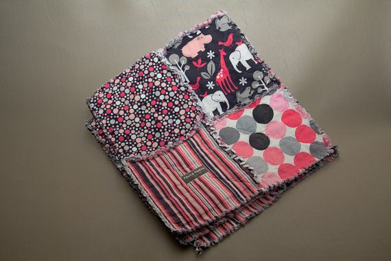 Reversible Kathy Miller Pink and Grey Rag Quilt  by PawsandBamboo, $99.00