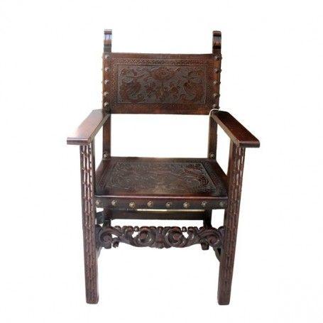 chaise frailero renaissance espagnole 16 si cle carr e droit simple motifs d taill s un peu. Black Bedroom Furniture Sets. Home Design Ideas