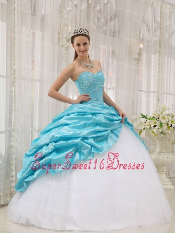 6a6dfb6a880 Affordable Aqua Blue Sweet 16 Dress Sweetheart Taffeta and Tulle Beading  Ball Gown