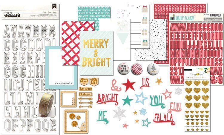 Our #november2015 Embellishment kit featuring journaling cards designed by @kjstarre  @shopfreckledfawn Washi Tape @maggiehdesign @octoberafternoon #kjstarre #christmas #november2015 #hipkits #hipkitclub