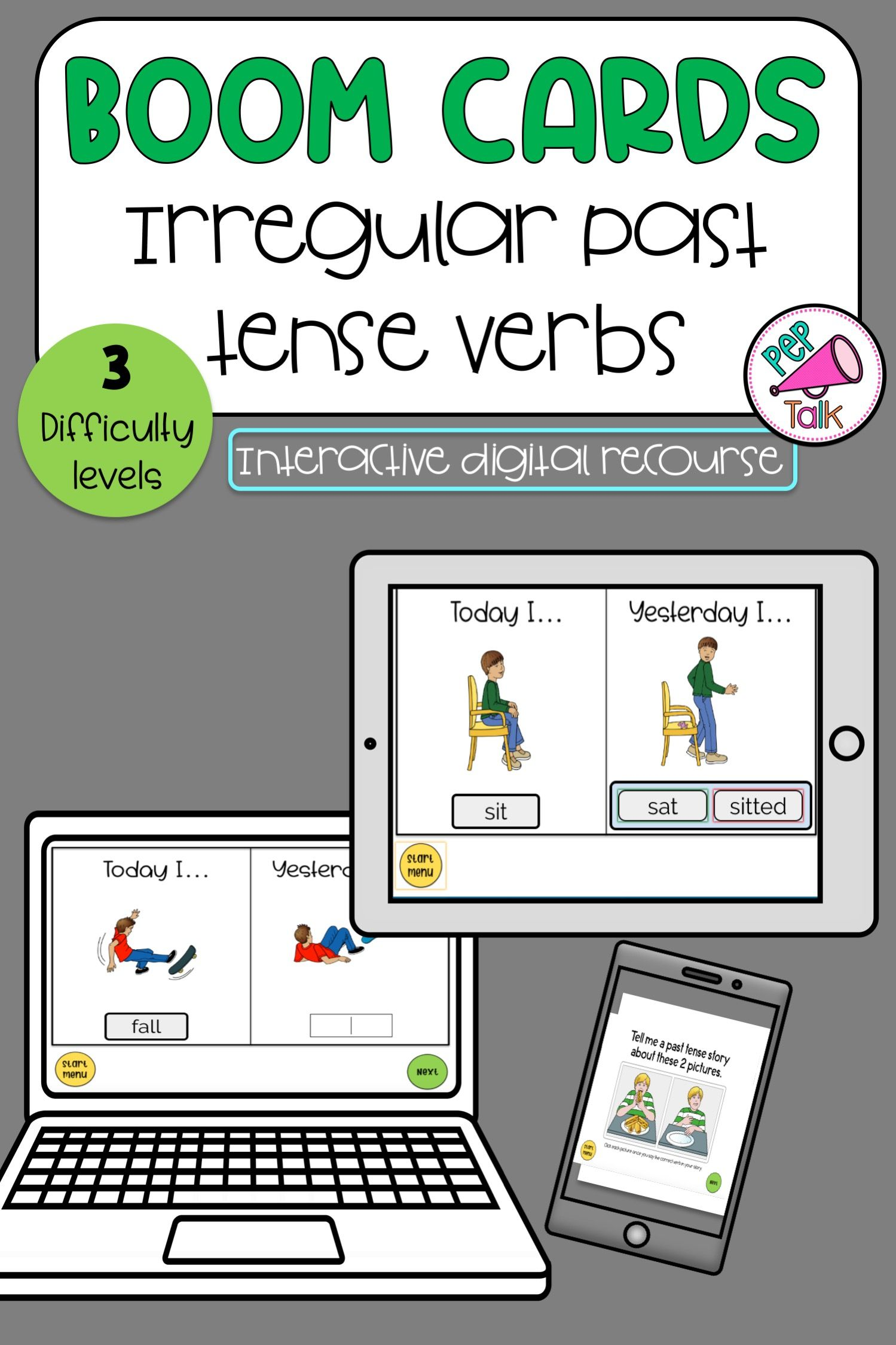 Irregular Past Tense Verbs Boom Cards Distance Learning In
