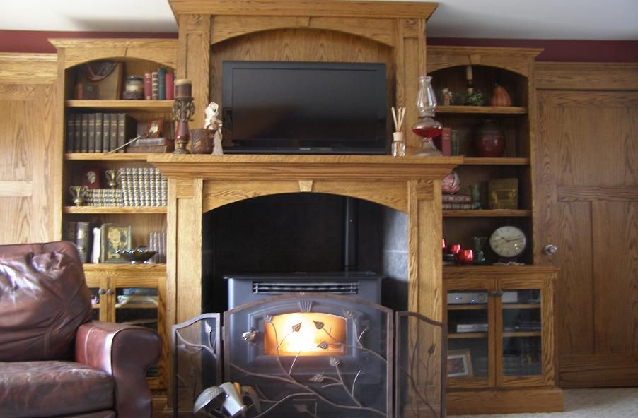 Pellet Stove Surround With Over Mantle And Bookcases