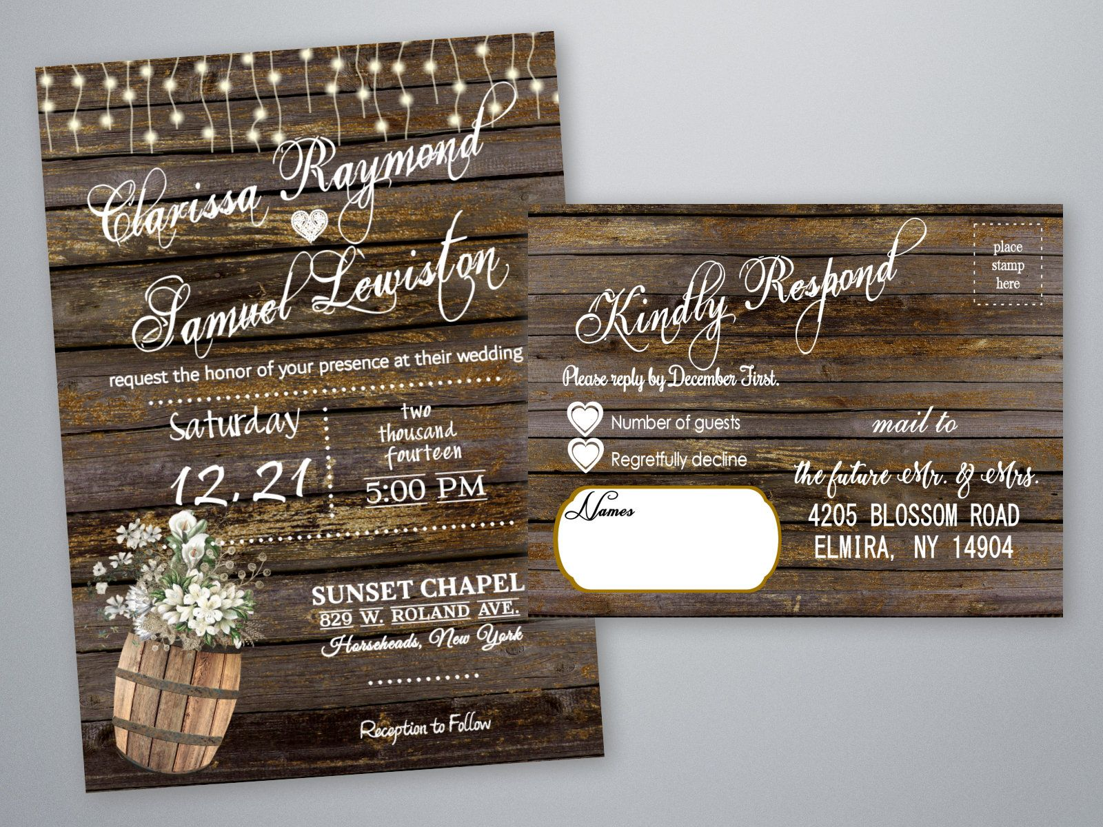 rustic wedding invitations country theme invites barrel