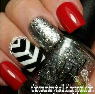 The Country Nail: Red Black & White Fun