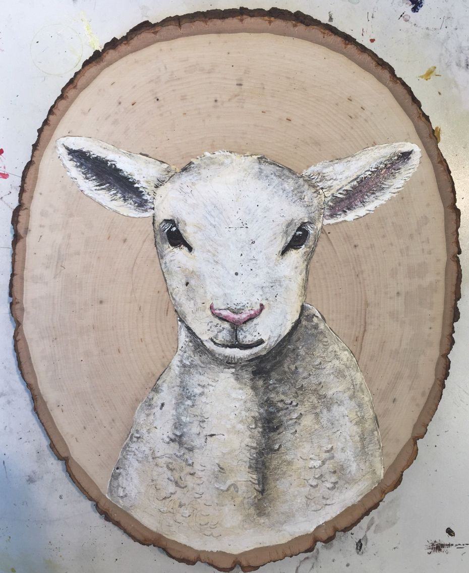 Lamb - acrylic on wood - painting