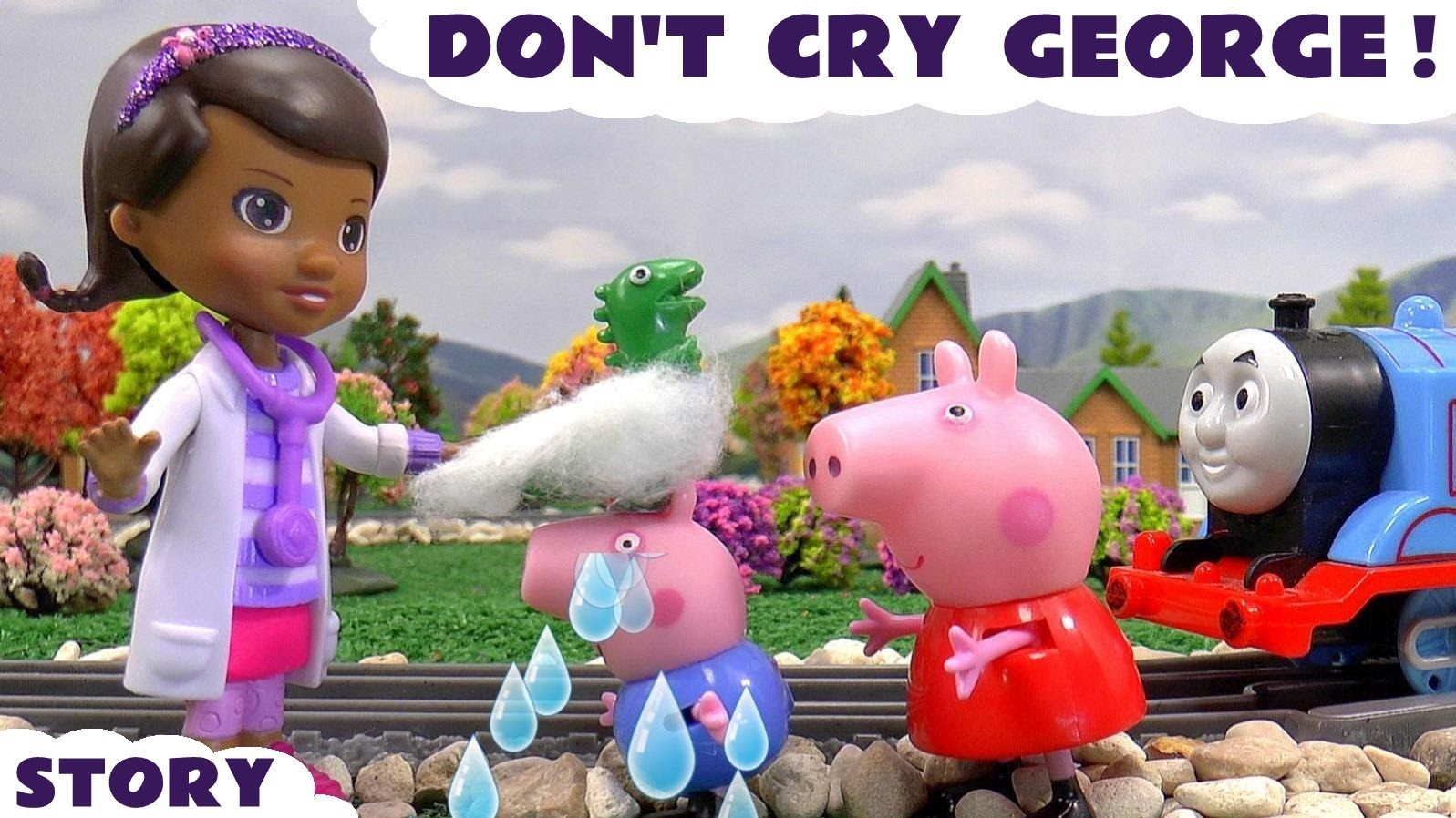 Peppa Pig Toy Dinosaur Accident Thomas And Friends Doc Mcstuffinstoys Rescue Story Don T Cry George Peppa Pig Toys Thomas And Friends Peppa Pig