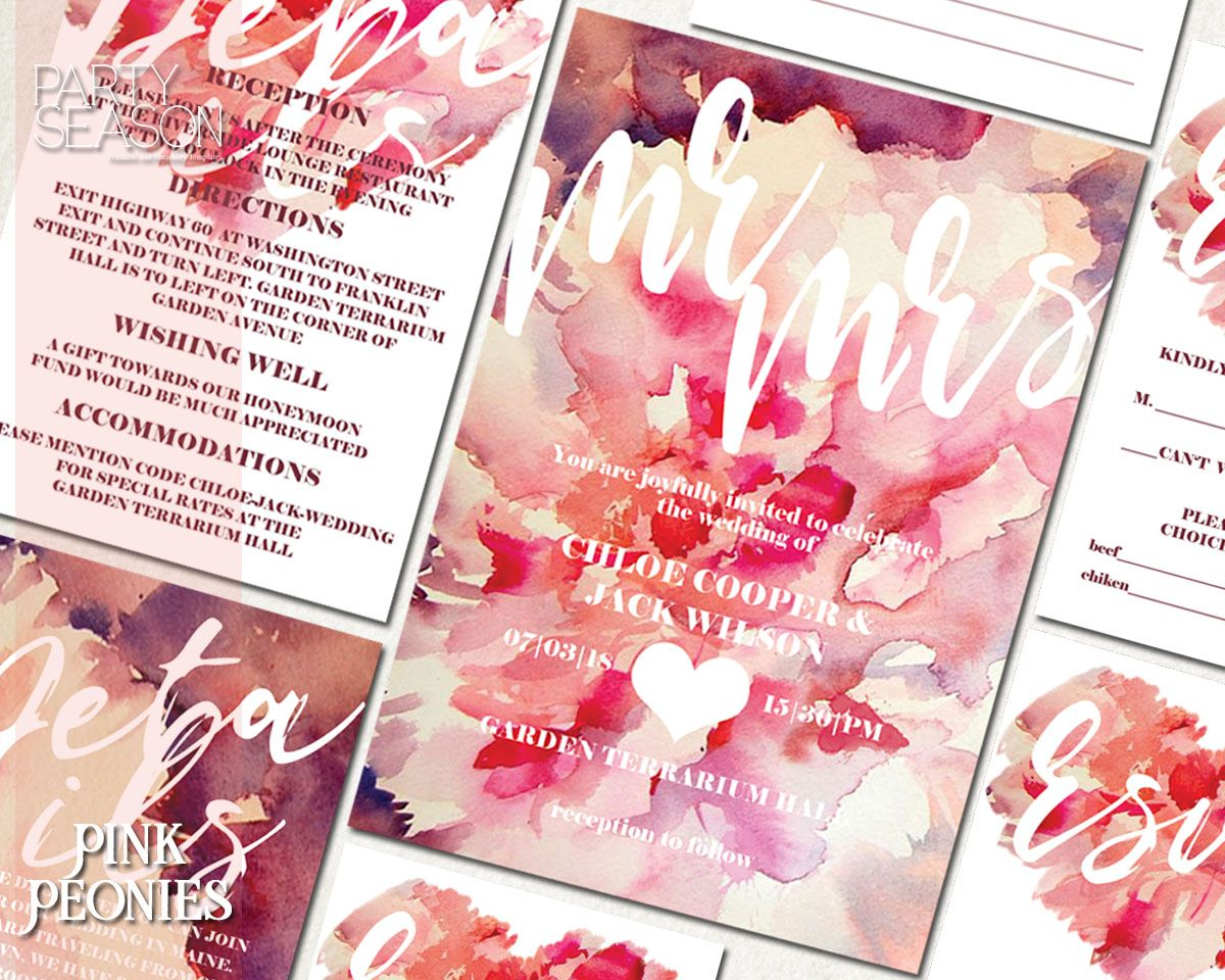 Wedding invitations PINK PEONIES COLLECTION https://partyseason ...