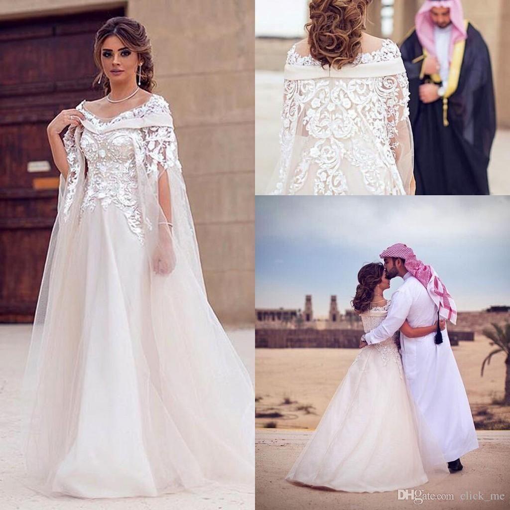 2017 African Bateau Wedding Dresses With Wraps 3D Flower Lace Arabic Bridal Dress Dubai Organza A