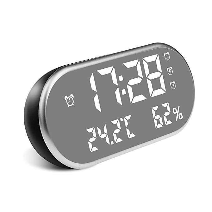 Clock With Usb Charger 6 5 Inch Large Led Display 3 Groups Alarm 12 24 Hour Setting Temperature And Humidity Monitor Clocks For Bedrooms Review