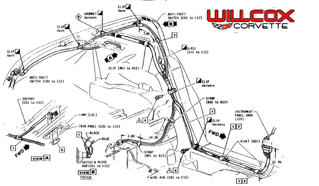 1978 1982 Corvette T Top Rear Lock Plate Wire Harness Location Corvette 1976 Corvette Corvette Engine
