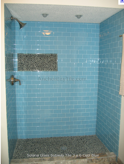 Blue Subway Tiles In The Shower