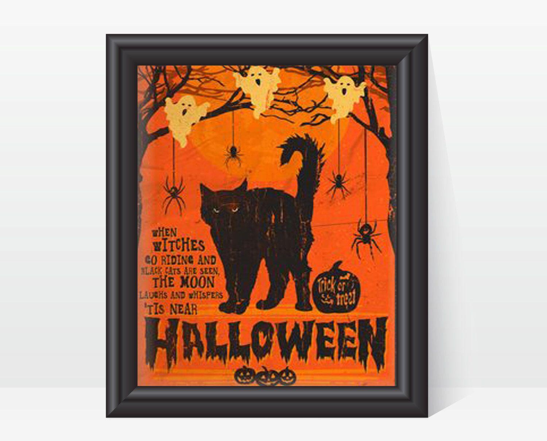 vintage spooky halloween art print, digital download, 8 x 10