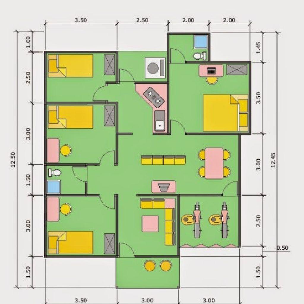 Denah Rumah 3 Kamar Ukuran 6x12 Terbaik Dan Terbaru Desain Rumah