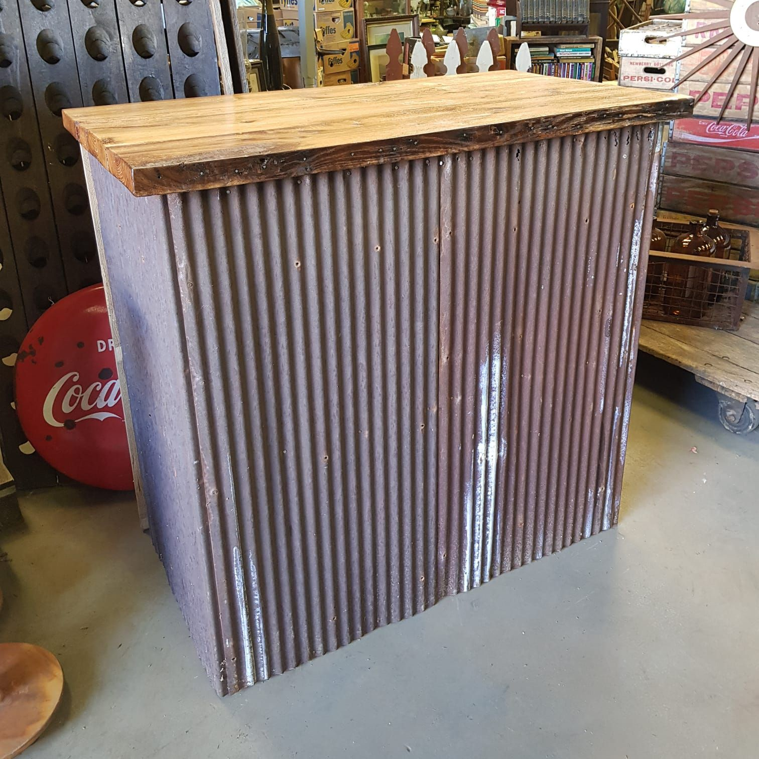 Custom made bar with American Corrugated Tin Sheets and
