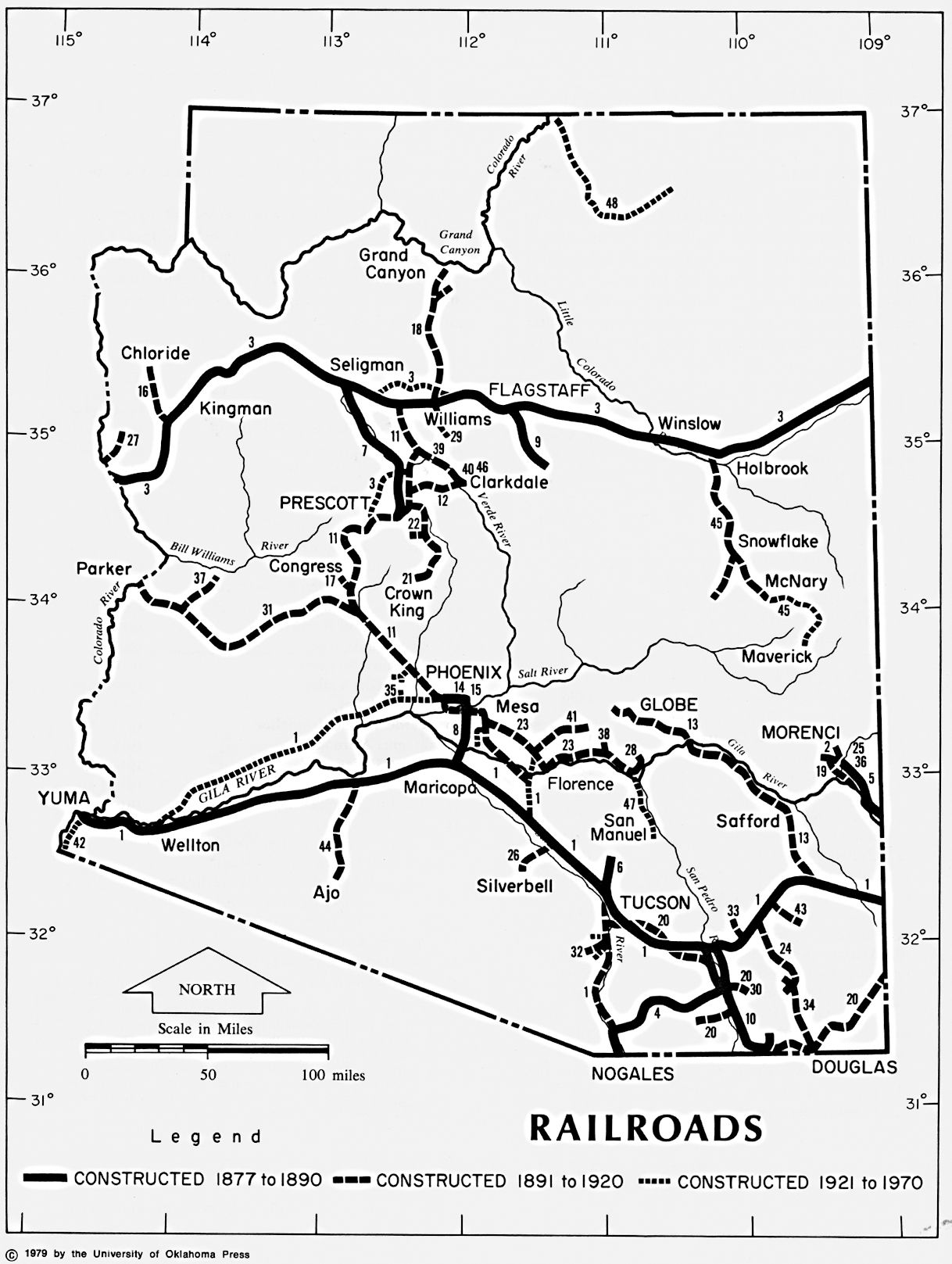 Map Of Arizona Railroads.Arizona Railroads 1877 1970 Ad Ancient Maps In The State Library