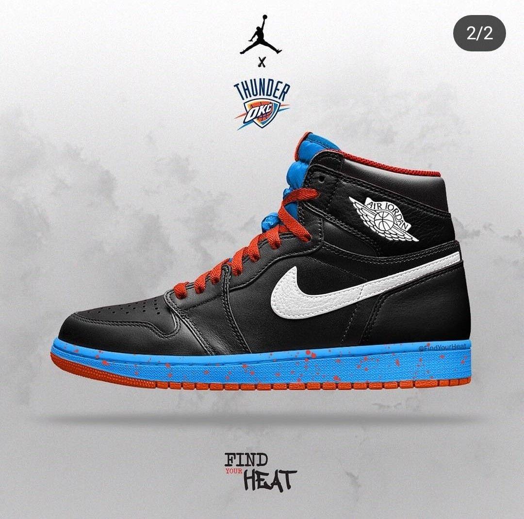 c8f6fac3bfc7 Air Jordan 1 x Oklahoma City Thunder done by  findyourheat  jordans  jordan