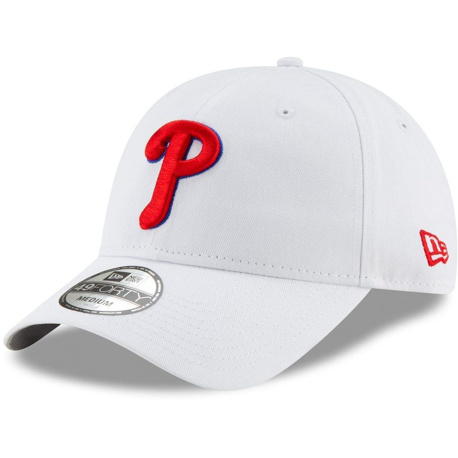 59b0f92e Men's Philadelphia Phillies New Era White Logo Core 49FORTY Fitted Hat,  $29.99