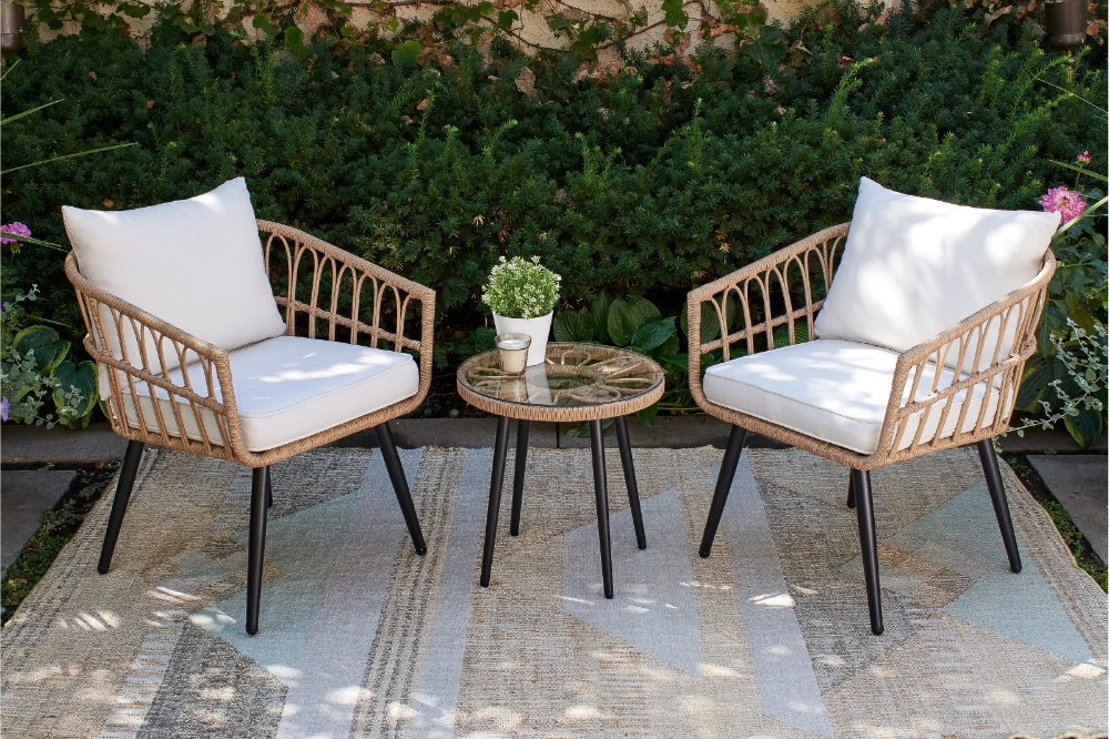Aliyah 3 Piece Rattan Seating Group With Cushions In 2021 Outdoor Furniture Outdoor Furniture Sets Outdoor Living