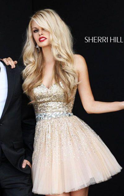 2014 Strapless Sherri Hill 2787 Sequin Nude Bodice Short Tulle A ...