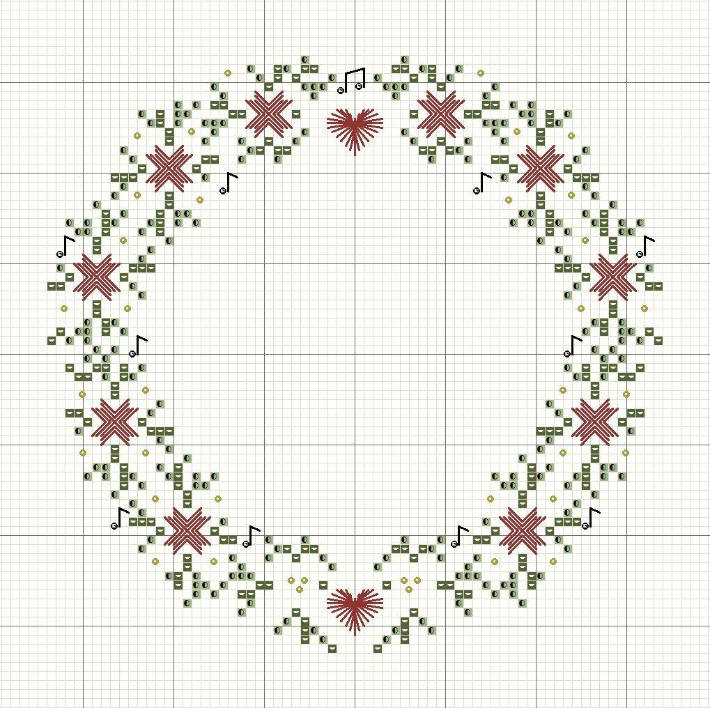 Free christmas wreath cross stitch pattern by rainburst embroidery