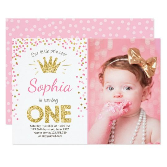 First Birthday Invitation Princess Gold Pink