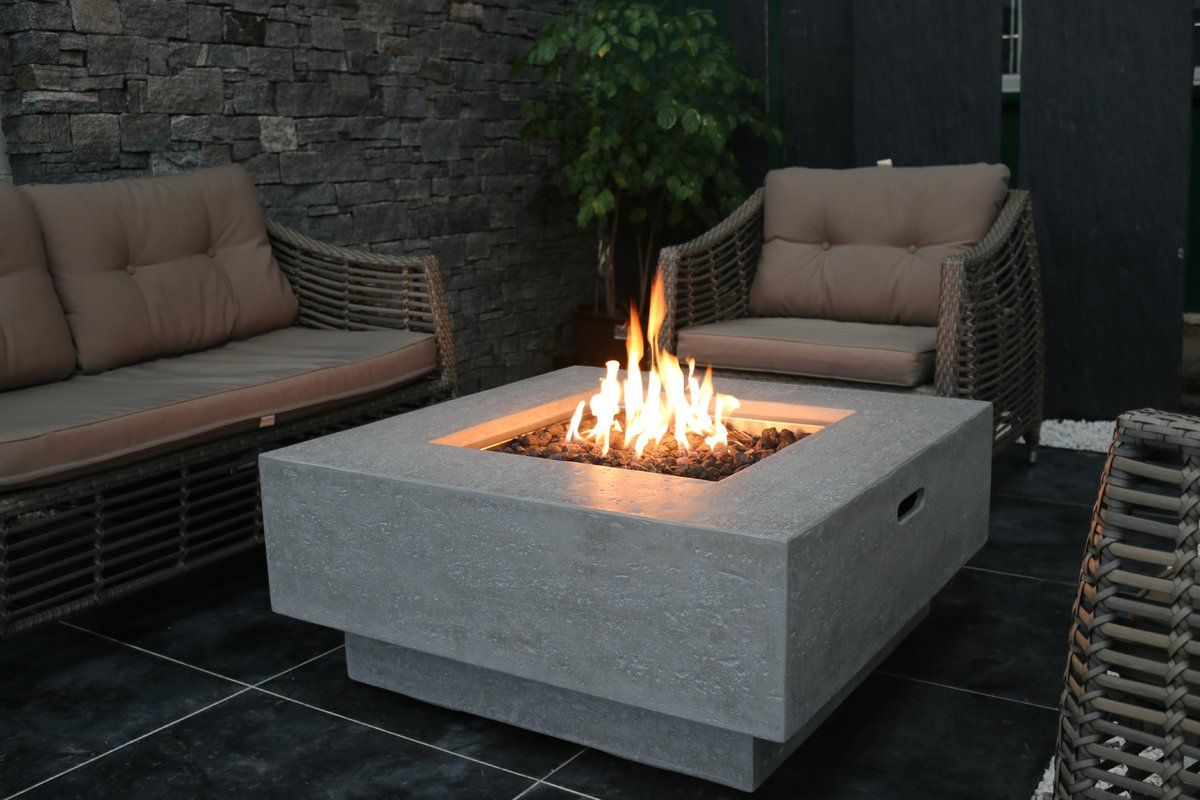 Backyard Lifestyles Manhattan Concrete Natural Gas Fire Pit Table