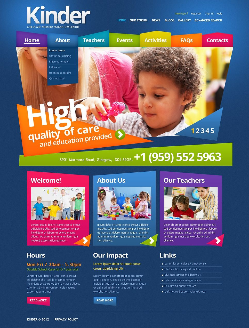 Primary School Drupal Template 43465 School Website Templates