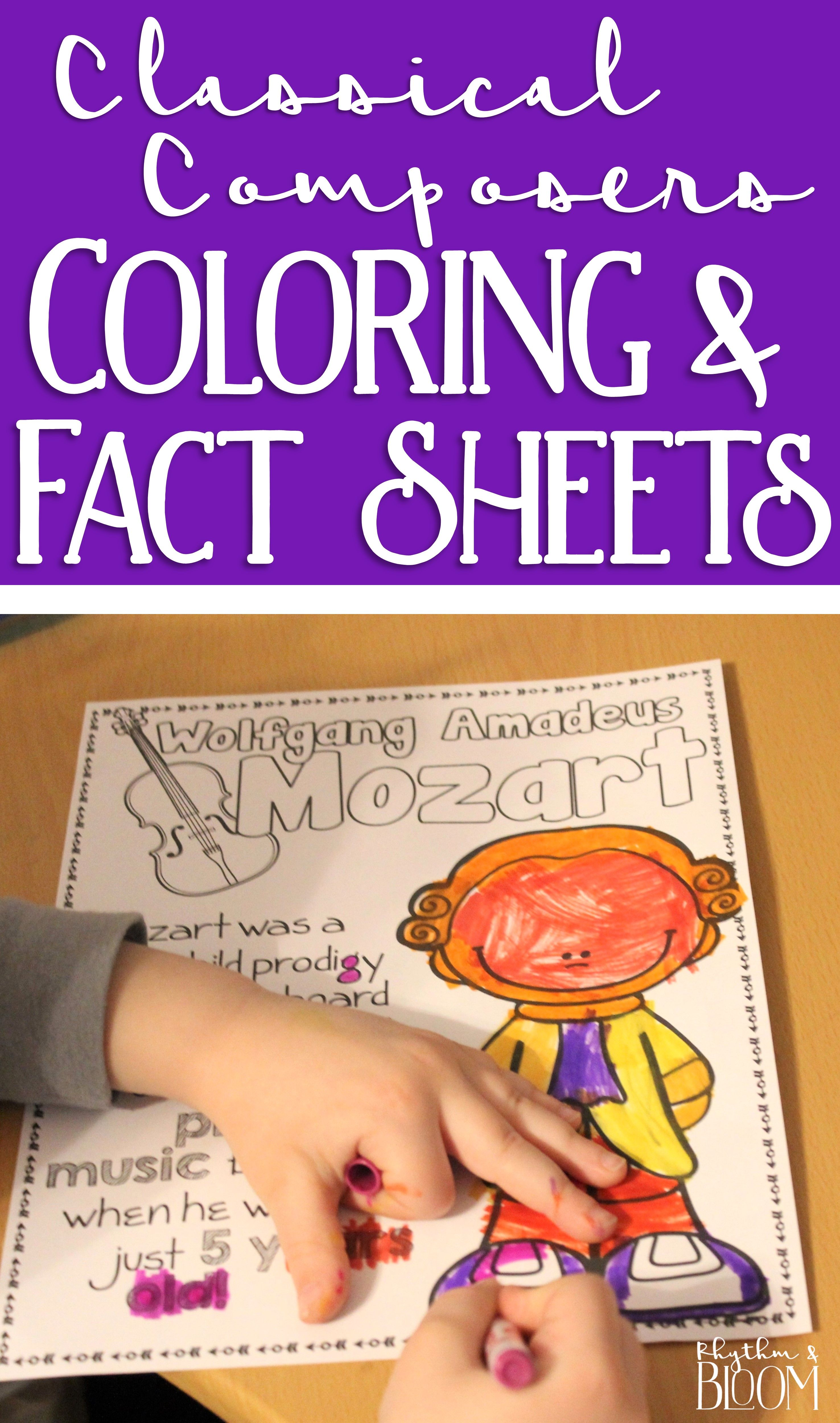 Classical Composers Coloring And Fact Sheets Music Class