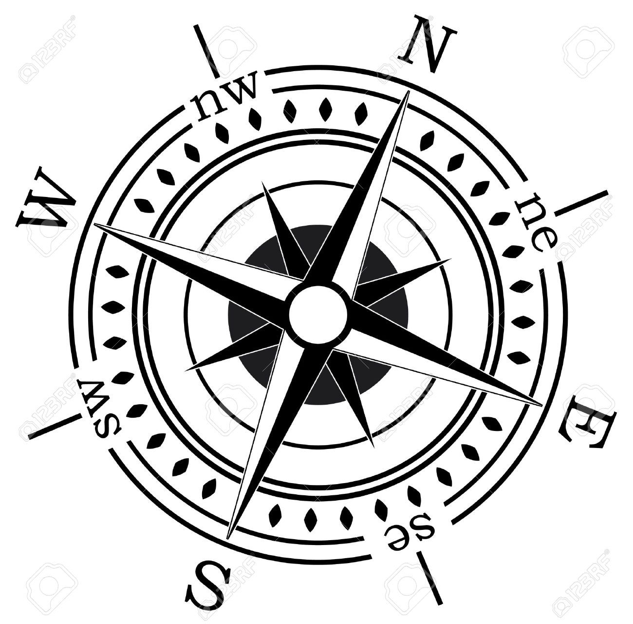 A Compass Vector Compass On White Background Illustration