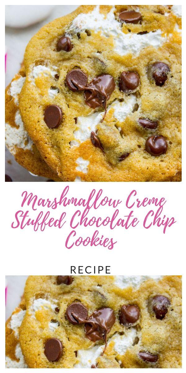 Marshmallow Creme Stuffed Chocolate Chip Cookies #chocolatemarshmallowcookies