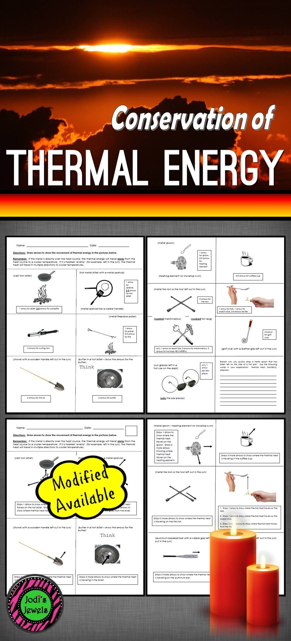 This worksheet assesses whether or not students can show the flow of thermal  energy through…   Elementary science activities [ 2112 x 960 Pixel ]