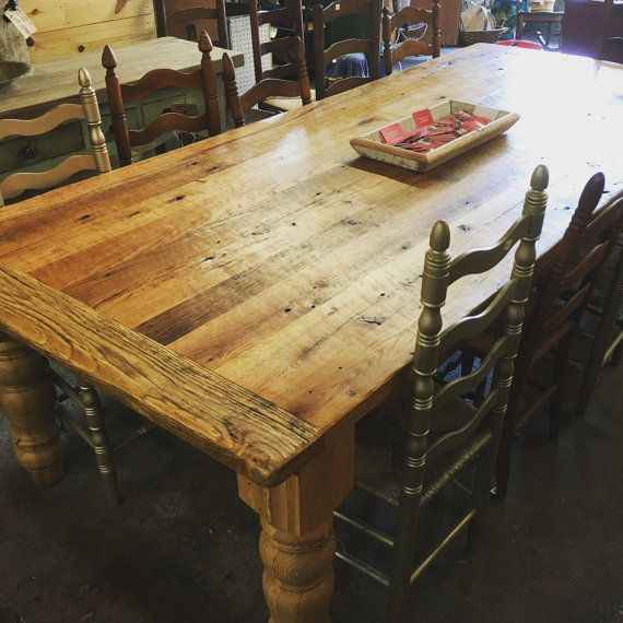 9 Foot Harvest Style Table Features A Barn Wood Top Reclaimed
