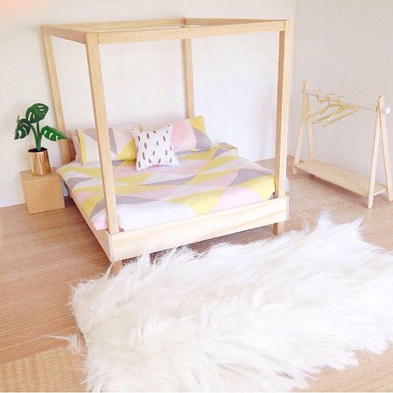 Barbie Furniture Diy: Modern Dollhouse Furniture/ Dolls House Bed / Four Poster
