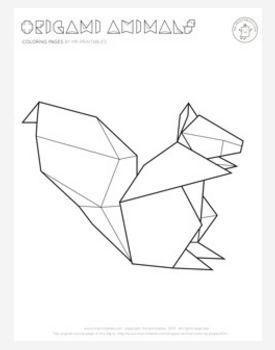 Origami Squirrel Coloring Page