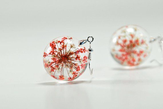 352bacfe6 Dried Flower Resin Earrings, Red and White Flower Earrings, Queen Anne's  Lace Resin Jewelry, Real Fl